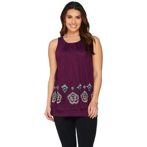 LOGO Lavish by Lori Goldstein Beaded Overlay Tank